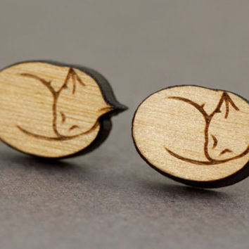 Cat Stud Earrings : Cherry Wood Earrings, Sleeping Cat, Kitten, Cat Lover, Crazy Cat Lady, Funny, Cute