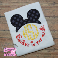 Boy Mouse Believe in the Magic Inspired Ears Monogram Phrase - Custom Tee