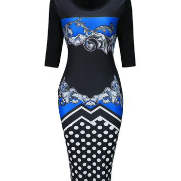 Streetstyle  Casual Round Neck  Slit  Polka Dot Printed Bodycon Dresses