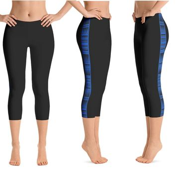 Kuahiwi Tattoo Crop Yoga Pants - 3 colors available & 2 Band Widths