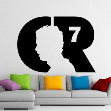 Modern Design Cristiano Ronaldo Wall Decal CR7 Football Vinyl Sticker Wall Sticker Removable Waterproof Decal  M898