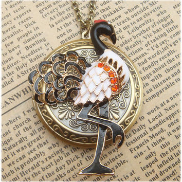 Steampunk Crane Locket Necklace Vintage Style by sallydesign