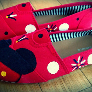 Women's Mickey and Minnie Red Flat Shoe