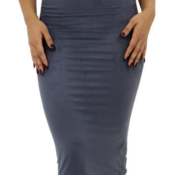 Stretch Suede Midi Skirt (5 colors)