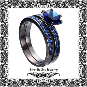 Gothic Engagement Ring Set | Steampunk Wedding Ring Set | Round 1Ct Blue Crystal Black Gold Filled Ring Set Size 6 7 8 9 10 #221