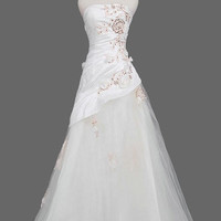 A-Line Strapless Chapel Train Satin Tulle  Wedding Dresses With Ruffle Embroidery Beadwork