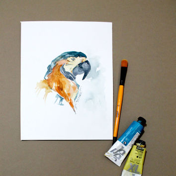 ORİGİNAL Watercolor Painting Parrot . Animal painting . Abstract . İllüstrasyon . Home decor . Wall decor . Gift Guide