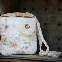 Cottage Chic CrossOver Bag - Shabby Chic Beach Floral Lace Tattered Rose Vintage ReCycled RePurposed Flower Quilt  Button Purse