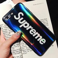 Supreme Tide brand laser Aurora couple models iphonex mobile phone shell soft shell protective cover black
