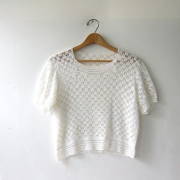 Beautiful Antique Victorian Crocheted Shirt. White Crochet Top. Loose Knit Blouse.