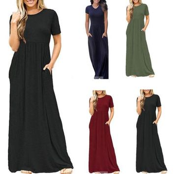 Fashion Summer Women Lace Pleated Boho Long Maxi Dresses Solid Color Plain Simple Round Neck Loose Long Sleeve Ladies
