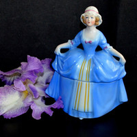 Art Deco Porcelain Lady Powder Box Jar Dresser Doll / Madame Pompadour Art Deco Powder Jar