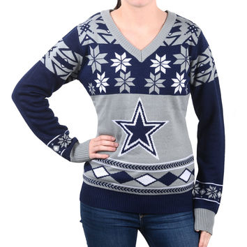 Dallas Cowboys Forever Collectibles Women's V Neck Big Logo Ugly Sweater Sizes S-XL w/ Priority Shipping