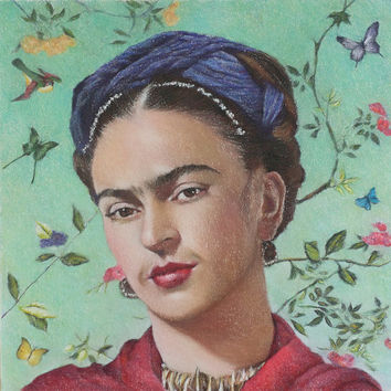 Limited edition giclee fine art print of Mexican artist FRIDA KAHLO in pastels. Fits Ikea frame sizes
