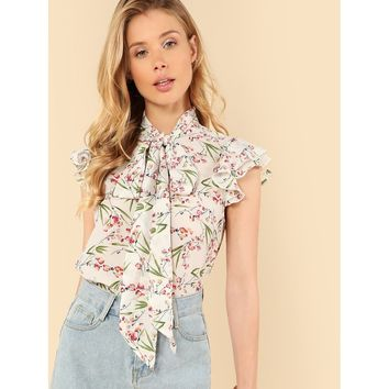 Multicolor Flutter Sleeve Tied Neck Botanical Blouse