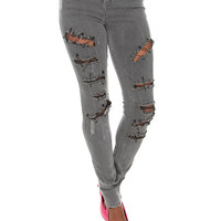 JET John Eshaya Grey Safety Pin Destroyed Skinny Jeans