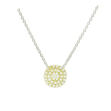 Gylla Clear CZ Circle Two-Tone Pendant Necklace