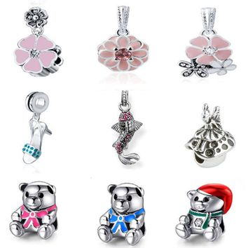 V.Ya Beads Fit Original Pandora Accessories Charms Big Hole Diy Women Men Gifts Bear Lovely CZ Crystal Bead for Jewelry Making