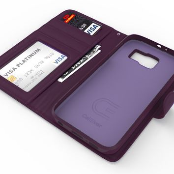 Galaxy S6 Case, CellEver Premium PU Leather Wallet [Flip Folio Cover] with Foldable Kickstand, Pockets for ID, Credit Cards & Cash for Samsung Galaxy S6 - Dark Purple