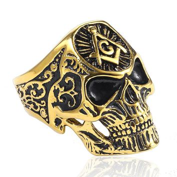 Hip Hop 7 to 13 Punk Military Army Skull Freemason Free Mason Freemasonry Ring Masonic Mason Vintage Gothic Biker Men Jewelry