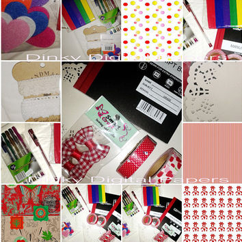 Complete Creative Notebooks Supplies Set, Creative And  Decorative Findings, Metallic Pen Set, Hearts,  Washi Tape, Bows, Lace And More!