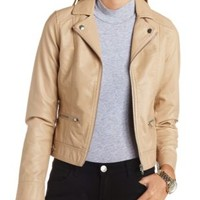 Faux Leather Moto Jacket by Charlotte Russe - Sand