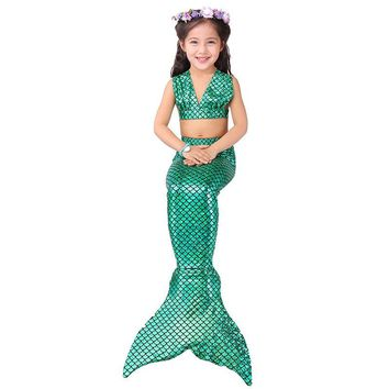 Baby Girl Little Mermaid Tail Costume Dress Vest Kids Beachwear Split Swimsuit Bathing Costume Children Fancy Dress Bikini