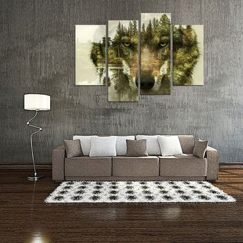 4 Panels Wolf Picture Printed Animal Canvas Painting Wolf Painting Giclee Artwork Decorative Painting Wall Art For Home Decor Wi