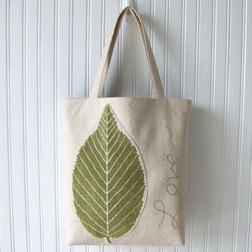 Garden Love Tote Bag - Leaf Nature Handbag, Botanical Tote Bag, Summer Tote, Garden Green, Olive Green Floral Bag, Book Bag, Fall Tote Bag