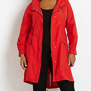 Eileen Fisher Plus Hooded Anorak - Red Poppy