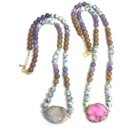 Mala Bead Necklace, Mala Necklace with Druzy Jewelry, White druzy necklace, Pink druzy necklace, Jasper Necklace, Amethyst Necklace