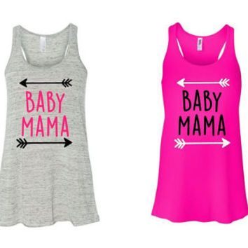 Baby Mama Tanks - Mom Life - Mommy - Tanks - Racerback Tank Top - Custom Shirts -  - Momma Bear - Tank Top - Glitter