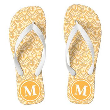 Orange Fish Scale Monogrammed Flip Flops