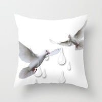 Can you hear the doves crying Throw Pillow by Laura Santeler