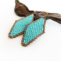 Turquoise bronze geometric dangle earrings. Beaded diamond shape, vintage look