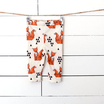 Fox Leggings, Organic Cotton Leggings, Children's Clothing, Leggings, Fox,  Organic Leggings, Baby Leggings, Organic Clothing, Kids Leggings