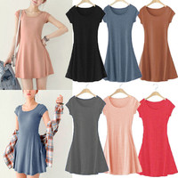 Fashion Women Girl Lady Casual Short Sleeve Summer Short Mini Dress
