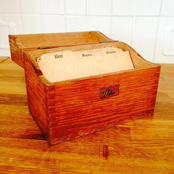 Wood Dovetail Box Industrial Style Storage Box or Recipe Box or Trinket Box