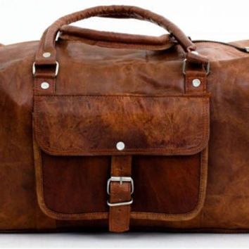 24 inches Large Leather Travel Bag Weekend bag Messenger bag overnight gym sports holdall