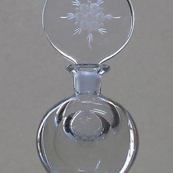 Hand Cut glass and engraved perfume bottle