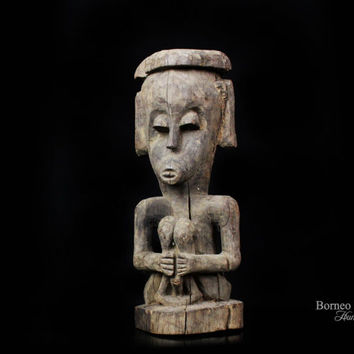 "Borneo Dayak Hampatong 13""Guardian Wood Sculpture Figure Bahau Tribe Kalimantan Primitive Ethnographic Artwork Collectible Home Decor"