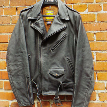 ✮ $1100 Schott NYC Perfecto 618V1 Leather  RARE  BIKER Jacket RiRi zippers NWT