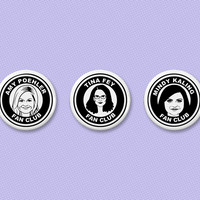 Funny ladies fan club button set