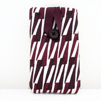Dark purple phone cover , hand printed dark purple graphic print fabric sleeve case Iphone 5s 5c 4s samsung galaxy s2  , UK seller