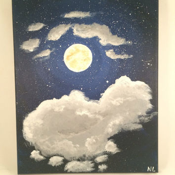 Cloud Moon & Stars, Original Acrylic Canvas Painting, Impressionist Night Sky