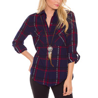 Always Forever Plaid Top - Blue