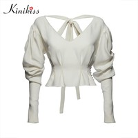 Female blouse lantern sleeve white shirt bead lace up backless women top fashion sexy blouse