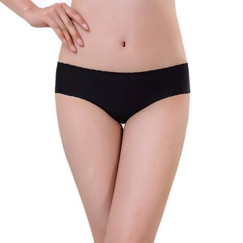 Women Invisible Underwear Spandex Seamless Crotch BK
