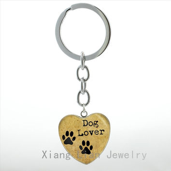 Dog Lover Hand Crafted heart Pendant key chain ring My Friend Pet Dog Paw Prints keychain cute dog photo keyring jewelry HP99