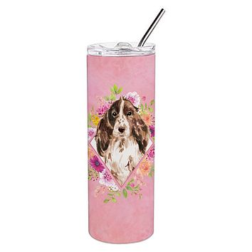 Brown Parti Cocker Spaniel Pink Flowers Double Walled Stainless Steel 20 oz Skinny Tumbler CK4252TBL20